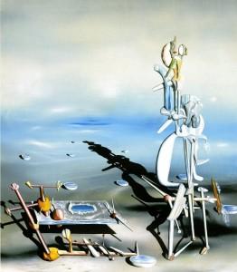 cuadro surrealista de yves tanguy en el que se ve un desierto y figuras irreconocibles