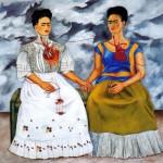 cuadro surrealista de frida kahlo en el que se ven a dos autorretratos, uno triste y feliz