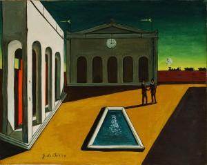 cuadro surrealista de giorgio de chirico de una plaza con sol luz y sombra.